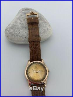 Rare mens vintage omega seamaster watch 1949 Bumper Cal 351 18k Rose Gold Cap