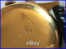 Rare vintage solid 18k gold large size chronograph suisse watch