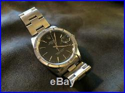 Rolex Oyster Perpetual Date 15210 1995 Engine Turned Bezel Rare Black Dial