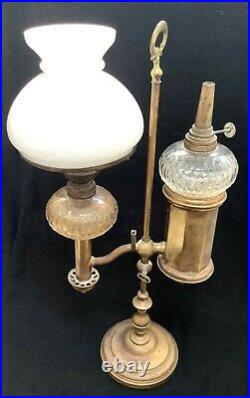 STUNNING RARE VICTORIAN BRASS & CRYSTAL GLASS 2 ARM OIL LAMP (Student Lamp)