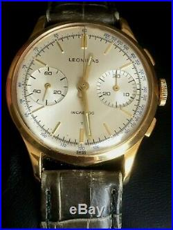 Stunning Rare Pre Heuer Leonidas Landeron 248 Gold Capped Chronograph Watch