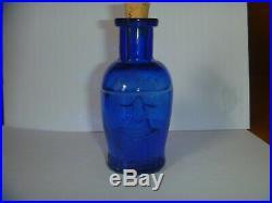 Super Rare 3.5 inch mid sz Cobalt Blue Skull Poison Bottle Antique Vintage KU-10