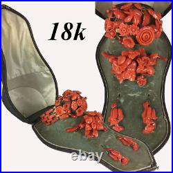 V RARE! Antique Victorian Red Coral Parure, in Box, 18k gold, Bracelet, Brooch +