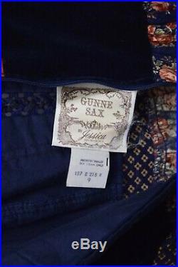 VINTAGE 1970s GUNNE SAX ROSE MAXI DRESS SUNDRESS NAVY VELVET SIZE 9 RARE MINT