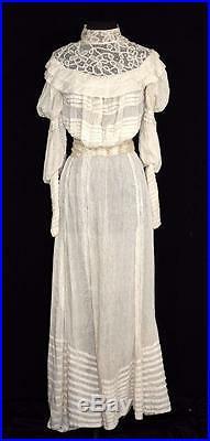 Very Rare Antique Edwardian High Neck Cotton & Silk Wedding Dress Size 2