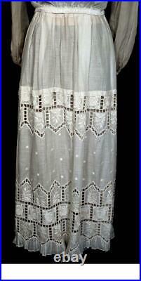 Very Rare Antique French Edwardian Era Cotton 2 Piece Lace Wedding Dress Size 8