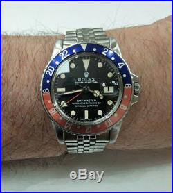 Very Rare Collectible 1968 Rolex Mk1 Long E GMT Master 1675 Pepsi S/N 1.8 Mil