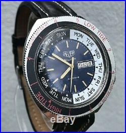 Very Rare Vintage 1970s Heuer Solunar Fishermans Tool Mens Watch Exc Condition