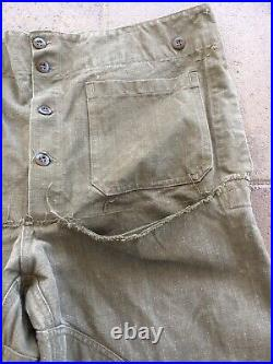Vintage 1930s 40s Canvas French Army Motorcycle Military Trousers Rare