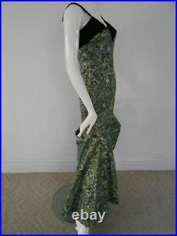 Vintage 1950s ALFRED SHAHEEN Hawaiian Metallic Floral Print Dress Gown RARE