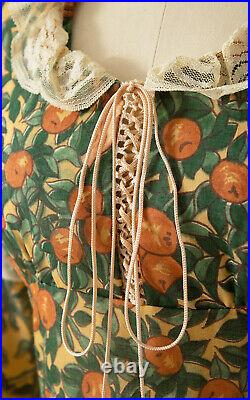 Vintage 1970s Rare GUNNE SAX Adam & Eve Novelty Print Corset Maxi Prairie Dress