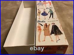 Vintage #3 Brunette Ponytail Barbie, Rare Blue Eyeliner, R Box, R Stand, Booklet
