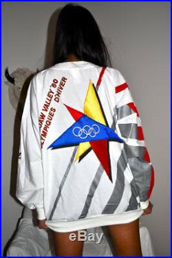 Vintage 80s ADIDAS Winter Olympics St Moritz / Squaw Valley SWEATSHIRT sz L RARE
