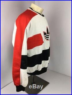 Vintage 80s Adidas Red White Black Run DMC Crewneck Trefoil Super Rare XL