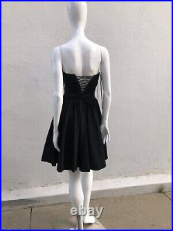 Vintage 90s THIERRY MUGLER corset Lace Up Dress Cotton sexy s40 Iconic Rare