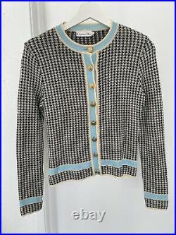 Vintage Christian Dior Houndstooth Knit Tweed Cardigan Jacket RARE