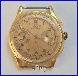 Vintage Chronograph Suisse Ancre Antimagnetic Watch 18k Gold Plated Rare Workers