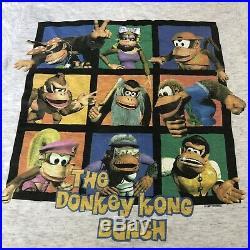 Vintage Donkey Kong Country All Over Print Shirt XL 90s Super Nintendo Rare