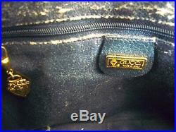 Vintage Gucci Satchel Navy Blue monogram GG Top Zip Expanding side Rare Purse
