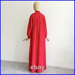 Vintage HALSTON IV 1970's Red Caftan Maxi Dress Balloon Sleeves RARE Studio 54