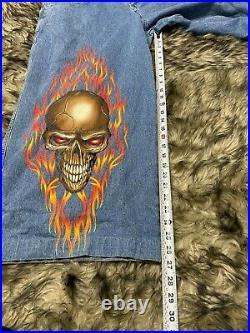 Vintage JNCO Jeans 40 X 32 Demon Skull Wide Leg Big Pocket USA 90s Rare Graphic