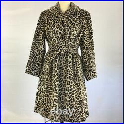 Vintage Leopard Coat, Small, with pockets, FAUX fur, 1960s Authentic, Rare Jacket