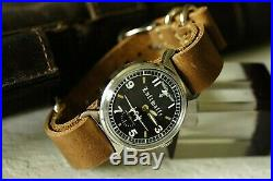 Vintage Luftwaffe Pobeda Rare Military wristwatch leather Gift black Friday