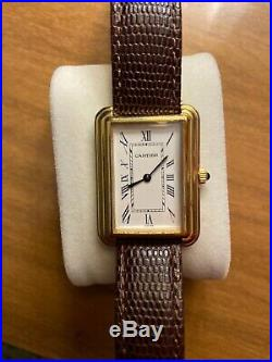 Vintage Mens Cartier Tank Watch Manual Wind With Rare Stepped Case