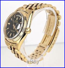 Vintage RARE 1957 Rolex Day-Date 36mm 6511 18K Yellow Gold Black Watch President