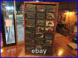 Vintage RARE 24 Drawer Wood Barn Cabinet File Box Cubby industrial Storage Box
