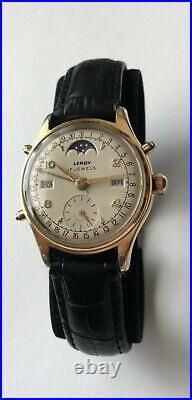 Vintage RARE Leroy Moon phase Triple Date Datofix Watch 107C 17 Jewels 3 Adjustm