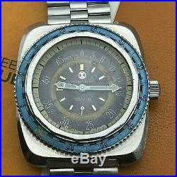 Vintage Rare Fabre Leuva Diver Bathy 50 Manual Wind Oversize Huge Box And Papers