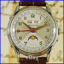 Vintage Rare Triple Calendar Moon Phase Nivada Manual Wind Pin Set Gents Watch