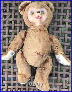 Vintage Rushton Rubber Face Lt. Brown bear plush Rare Segmented Limbs