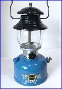 Vintage SEARS 1/67 Single Mantle Gas Lantern 476.74550 Blue Rare Coleman 200a