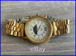 Vintage Timex Moon Phase Perpetual Calendar Watch Gold Tone Dress Date Rare