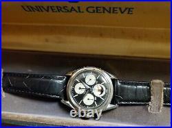 Vintage Universal Geneve Tri-compax Chronograph, Moon phase. Rare Waterproof