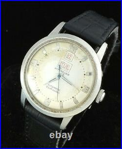 Vintage Wittnauer Automatic Mens Wrist Watch Rare Day Date @ 12 11acb