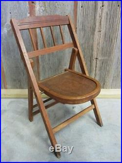 Vintage Wooden Folding Chair Antique Table Stand Old Stool Chairs RARE 7039