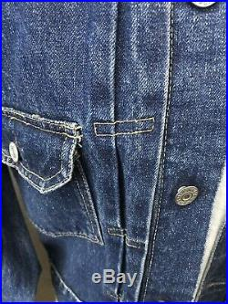 Vtg 50s/60s Levis Type 2 Pleated Denim Jean Jacket Big E Indigo S / M Rare