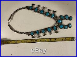 Vtg Old Pawn Squash Blossom Silver Turquoise Necklace Antique RARE