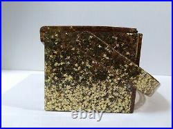WILARDY RARE VINTAGE EMBEDDED GOLD STARS CLEAR LUCITE PURSE With BUILT IN COMPACT