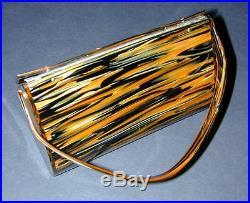 Wilardy Tiger Striped Lucite Purse Handbag with Goldtone Rhinestone Clasp Rare
