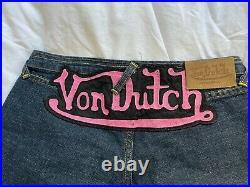 Y2K Von Dutch Vintage Flare Jeans Pink Applique size 27 Made in USA Very Rare